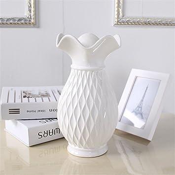 Einfache Keramische Grid Vase Weiß Groß Für Mittelstücke