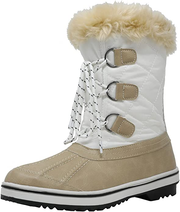DREAM PAIRS Women's Swiss-Low Beige White Mid Calf Winter Snow Boots Size 7 M US