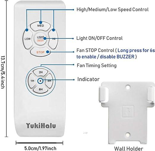 à distance sans fil avec Yukihalu Petite Taille Universel Ventilateur de plafond Télécommande Kit