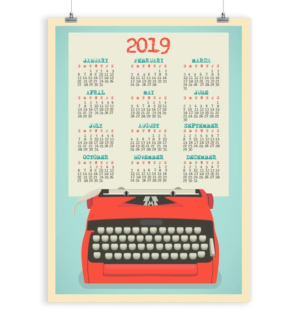 2019 Wall Calendar For 2019 Retro Typewriter Office Paper Goods Stationery 5x7, 8x10, 11x14, 12x16, 13x19, 16x20 inches - Unframed