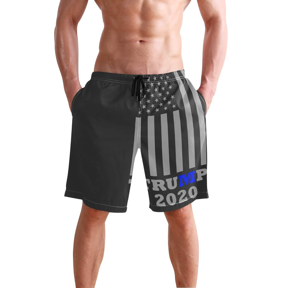 6a09f86479 Art USA Flag Mens Swim Trunks Quick Dry Board Shorts With Pockets Summer  Swimsuit Beach Short