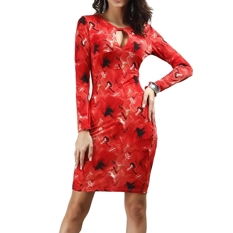 Sexy Frauen rote tiefem V-Ausschnitt Langarm-Bodycon Slim Wrap-Partei-Verein-Bleistift-Kleid