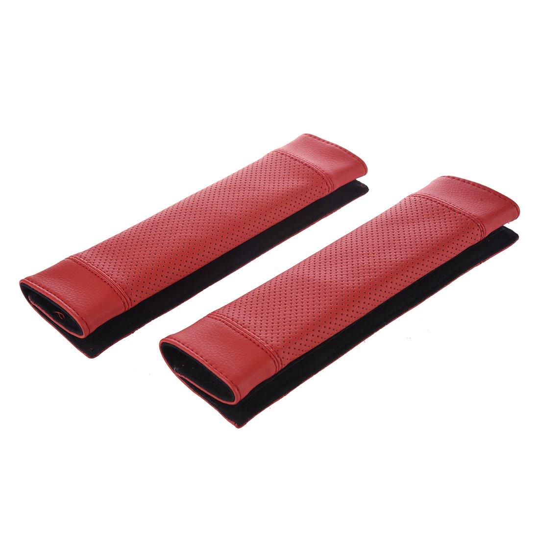 SODIAL(R) 2Pcs PU Leather Car Seat Belt Shoulder pads Cover Black & Red LEPACA4150