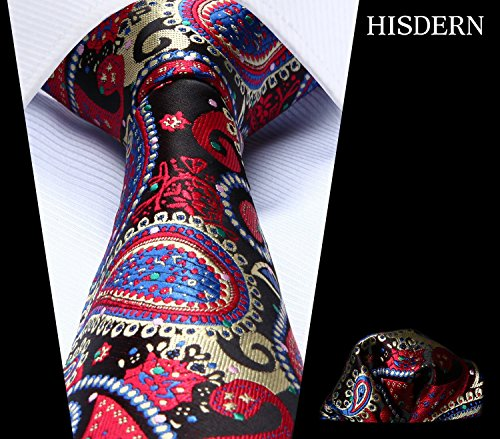 Men's Handkerchief Pocket amp; HISDERN Set Floral Blue Tie Paisley Wedding Red Green Square Necktie qxwZRXfw