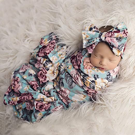 Borlai 0-3 Months Infants Floral Sleeping Bag Swaddle Receiving Blanket with Headband