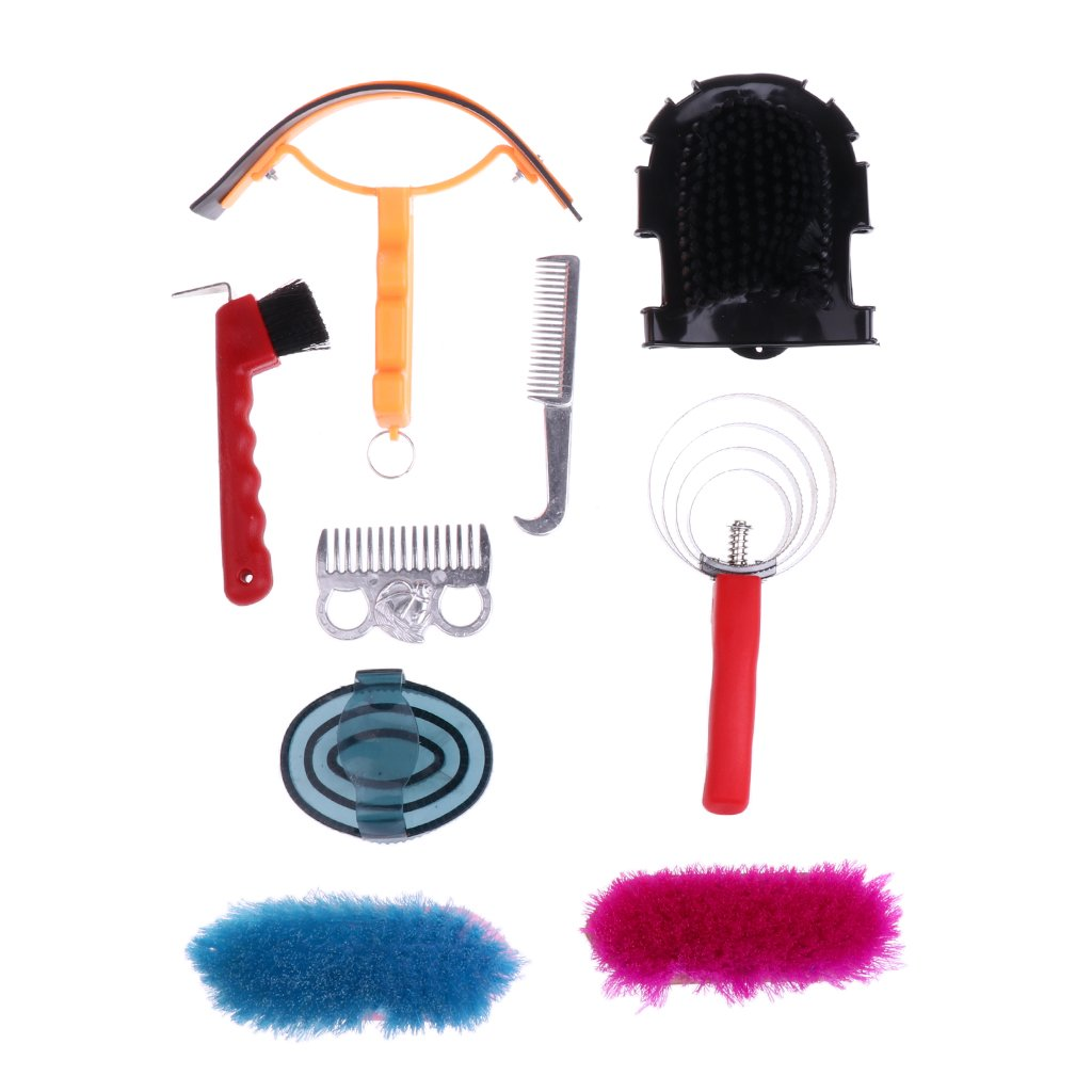 MagiDeal 9pcs Equestrian Horse Grooming Kit Brush Comb Currycomb with Storage Bag 260 x 220 x 70mm