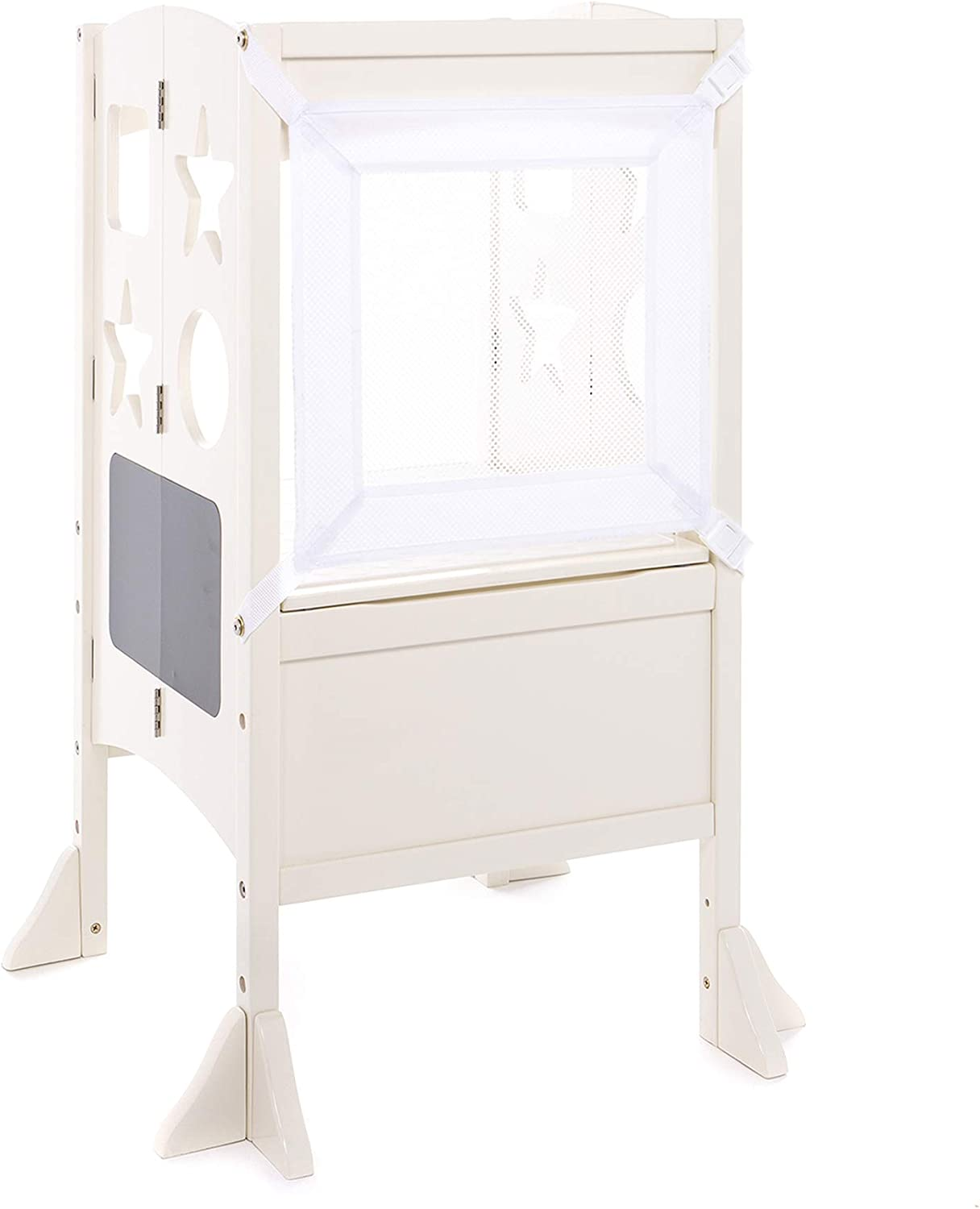 Guidecraft Heartwood Kitchen Helper Stool Little Kids Learning Furniture Folding Step Stool for Toddlers White W//Keeper and Non-Slip Mat: Adjustable Height Wooden Baking Tower