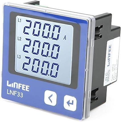 Akozon Current Amp/èrem/ètre Num/érique triphas/é LCD Affichage Multifonction Electrique Intelligent Power Meter Mesure de courant triphas/é Ac Amp/èrem/ètre LNF36-C