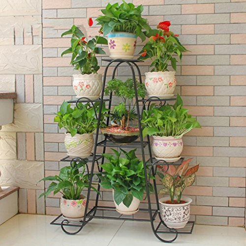 @Plant stand Flower Stand Iron Shelves Indoor Balcony Living Room Shelf 9-tier Iron Rack (Color : C) by ZGP