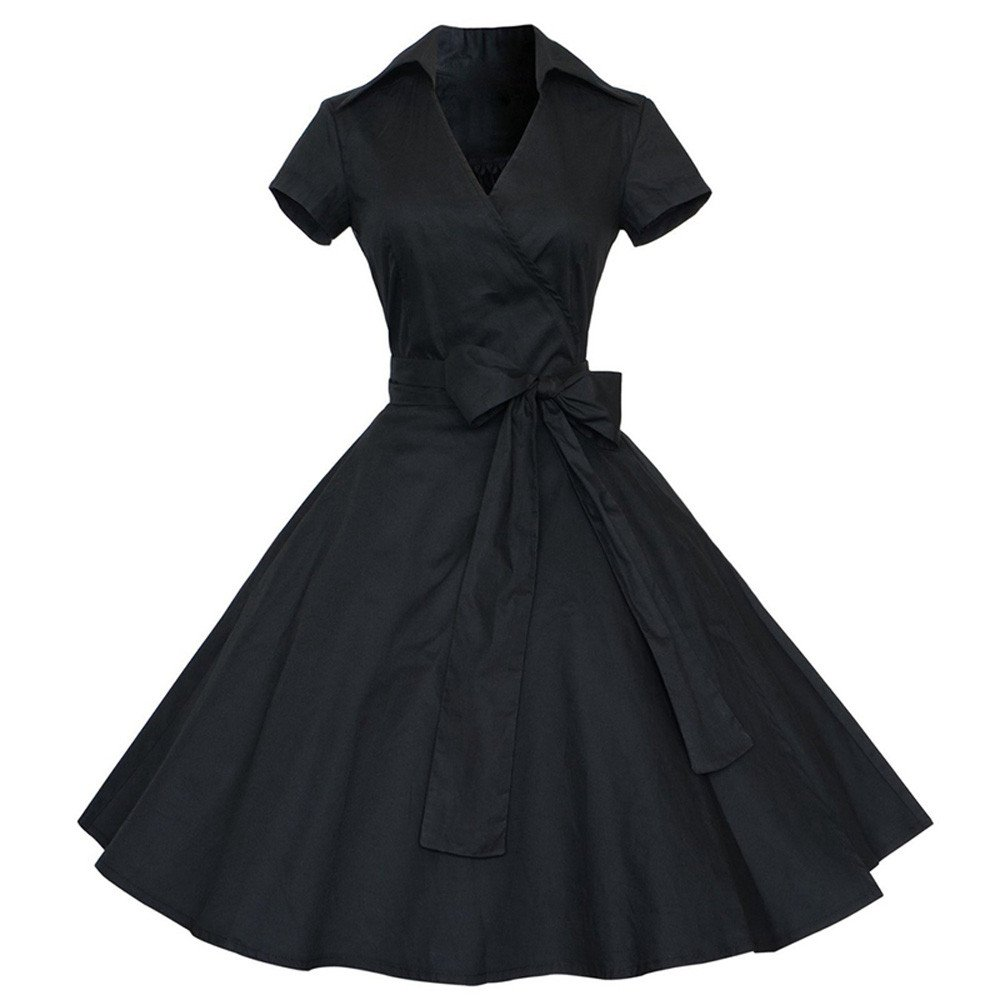 iZHH Women Fashion Vintage Dress 50S 60S Swing Pin up Retro Casual Housewife Party Dress(B-Black,M) by iZHH