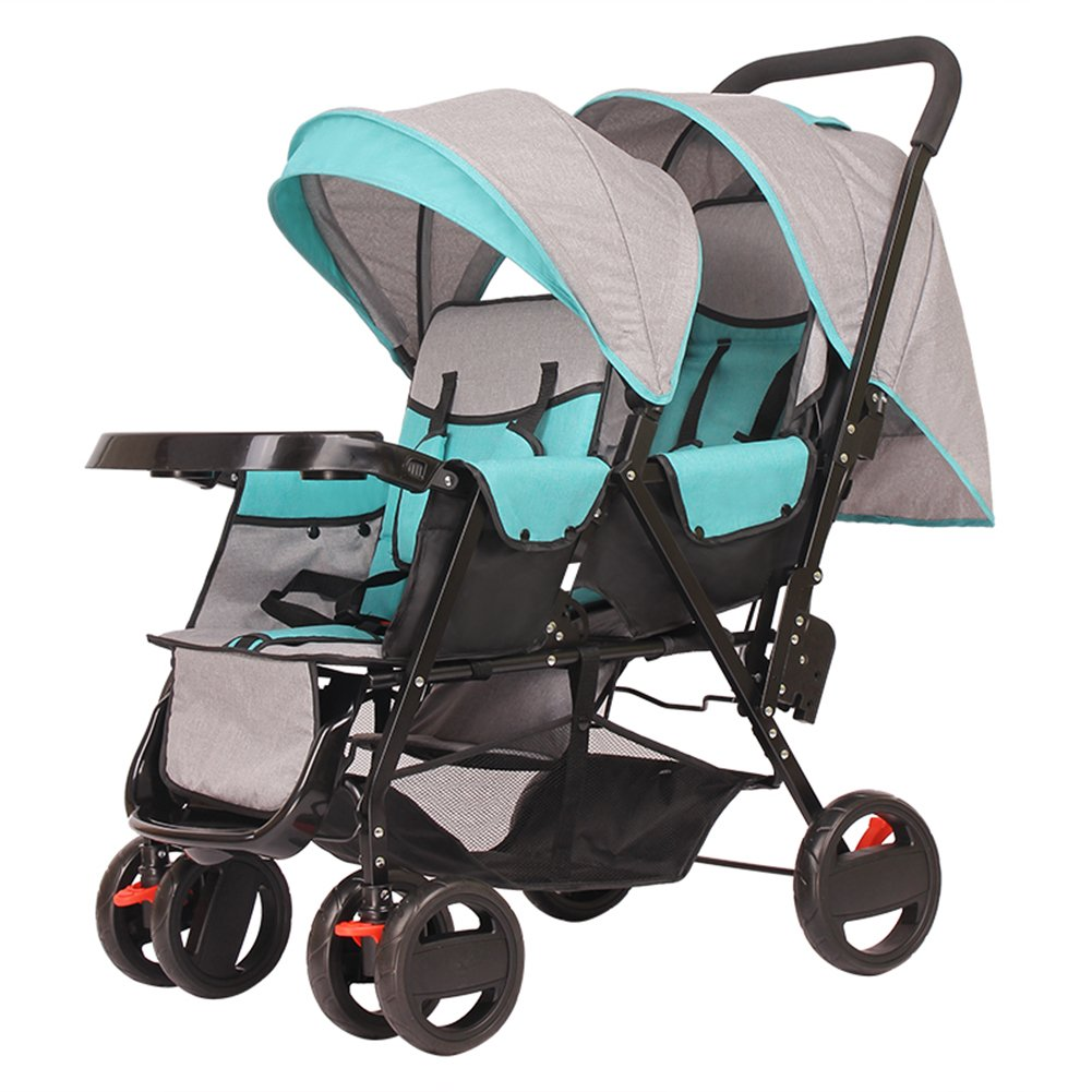 Frjjthchy Baby Twins Double Connect Stroller Bassinet High Landscape Tandem Stroller for 0-36 Month (Green)