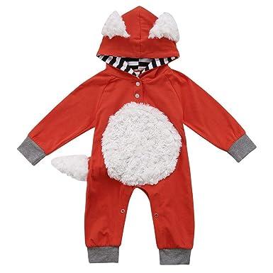 infant baby toddler girls boys long sleeve fox romper jumpsuit halloween costumes orange 0