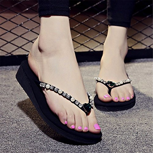 FLYRCX libero 2018 scarpe antiskid moda piede tempo ladies' flop clip diamante da outdoor spiaggia fondo e estate flip pantofole spesso rFtqawdr