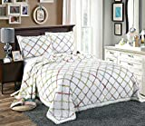 Alicemall European Style Boho Bed in a Bag Elegant Comforter Set 100% Cotton Ivory Green Ruffle Diamond Multi Color Patchwork Bedspread/ Quilt Set, 3 Pieces, King Size (King, Multi)