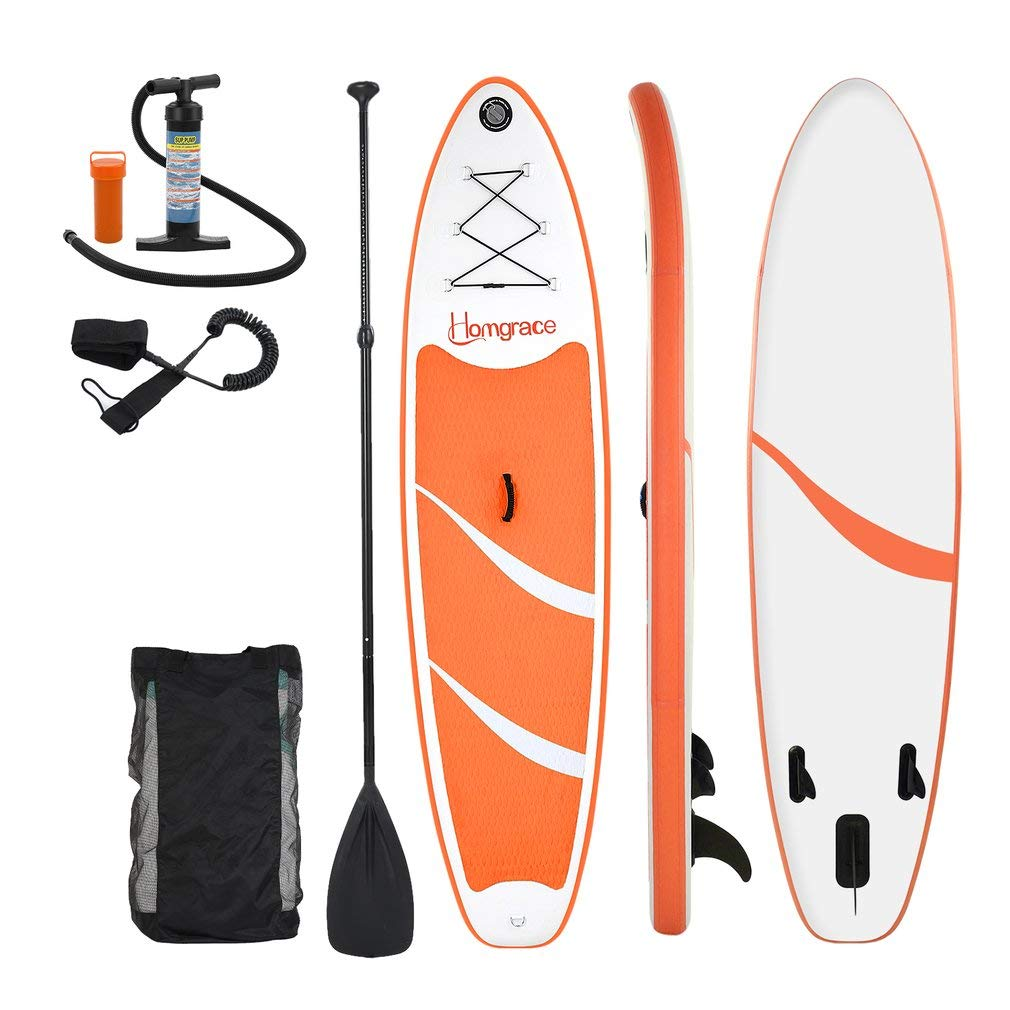 Homgrace Inflatable SUP/Kayak Surfboards Stand up Paddle Board with Carrying Storage Bag Manual Pump Kit Removable Fin All Skill Levels (Orange)