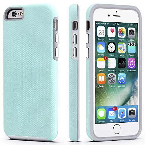 (iPhone 6 / 6s Case, CellEver Dual Guard Protective Shock-Absorbing Scratch-Resistant Rugged Drop Protection Cover for Apple iPhone 6 / 6S (Mint))