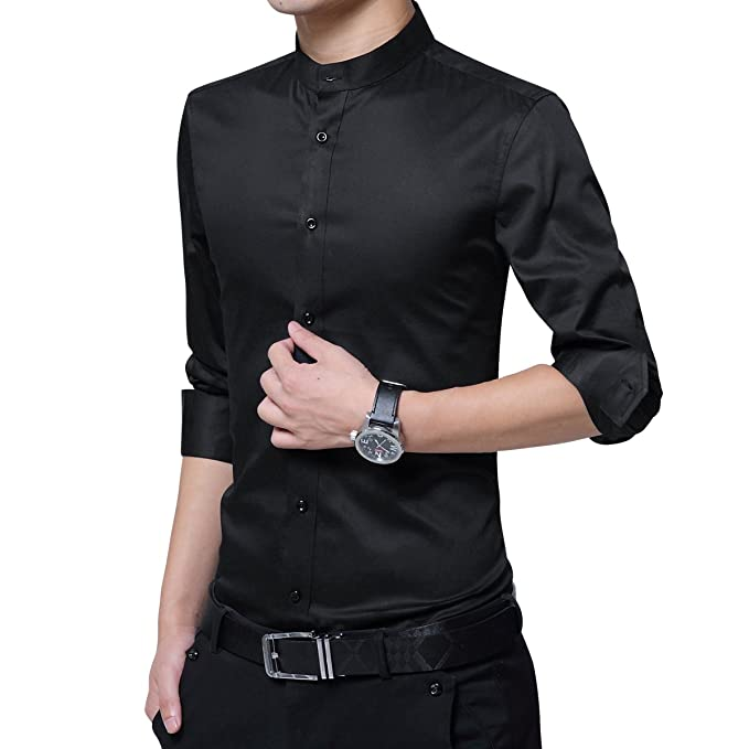 Amazon.com: HiLY Camisas de vestir para hombre, cuello de ...