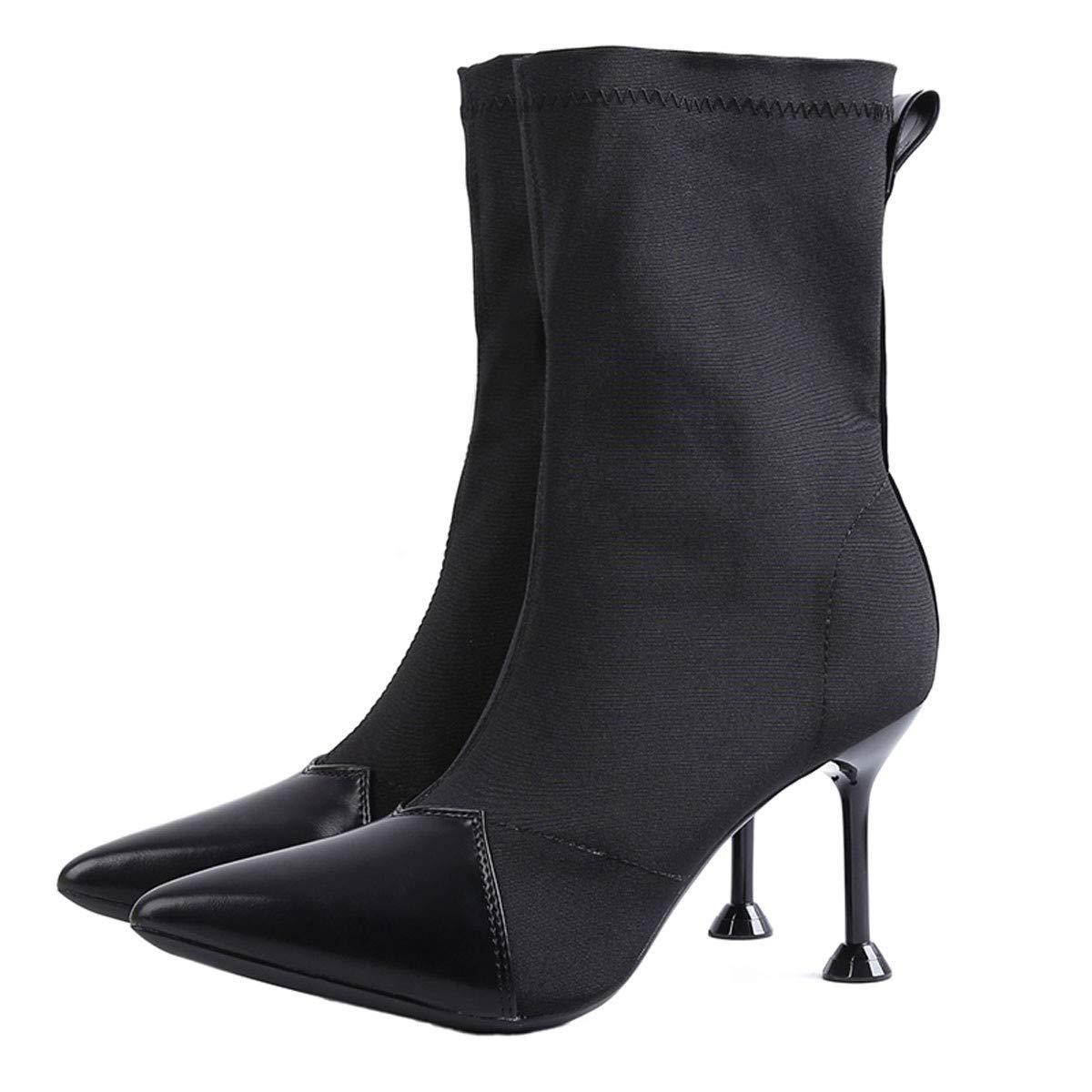GTVERNH Frauen Schuhe Elastische Weibliche Stiefel Farbabstimmung Gut Bei Fuß Sagte Hochhackigen Schuhe Mittel U - Stiefel 7Cm Martin Stiefel Damenschuhe.