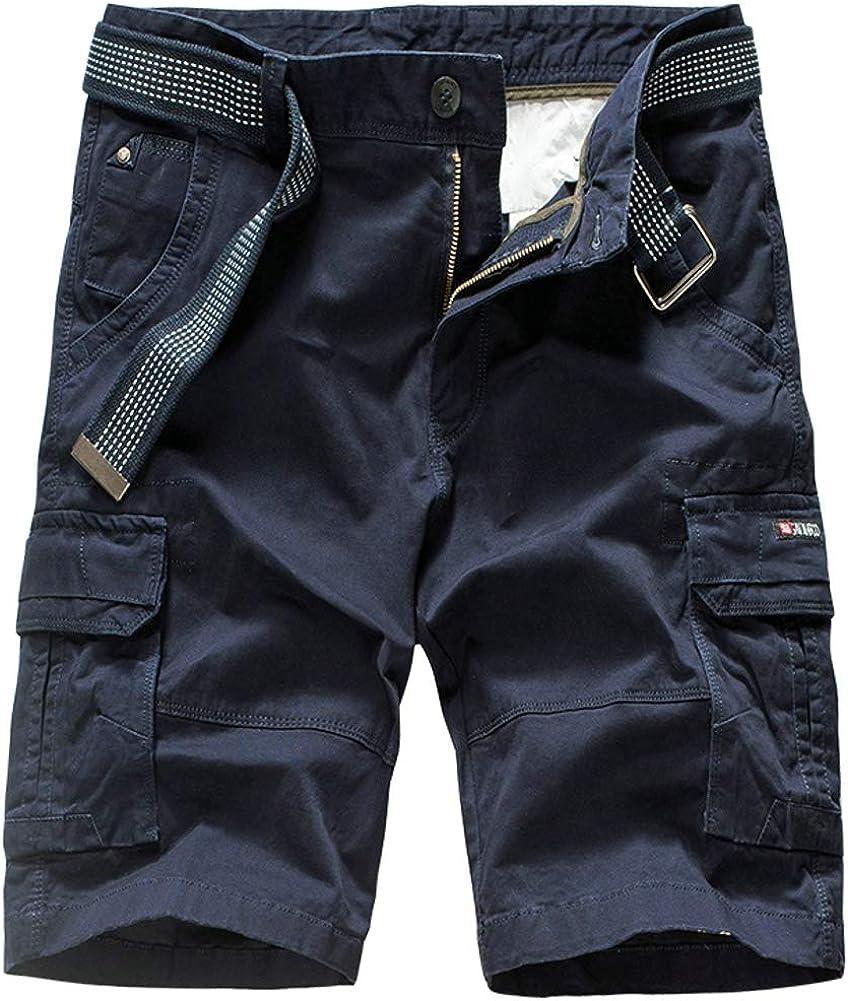 Ffox Mens Solid Casual Multi-Pocket Loose Cotton Camo Cargo Shorts no Belt