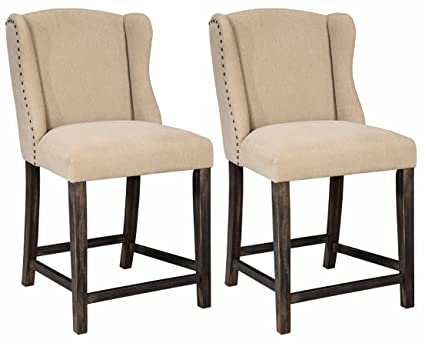 Outstanding Ashley Furniture Signature Design Moriann Counter Height Barstool Set Of 2 Vintage Casual Light Beige Machost Co Dining Chair Design Ideas Machostcouk