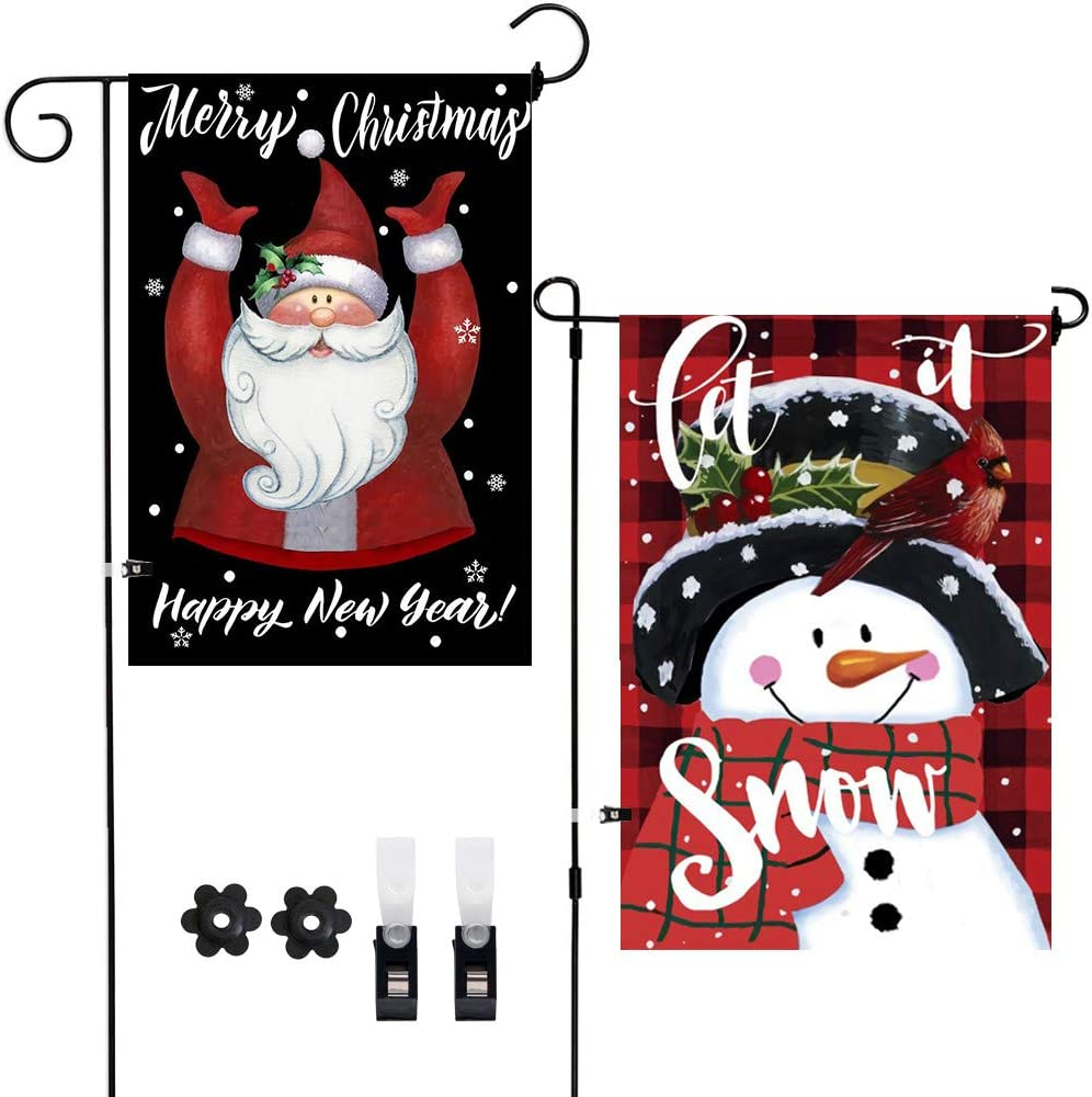 2Pack Christmas Yard Flags Snowman Let It Snow Merry Christmas Garden Flags Happy New Year Decoration Double-Sided Front Door Outside Flags,Winter Holiday Snow Decor Burlap Flags with Clips Stoppers