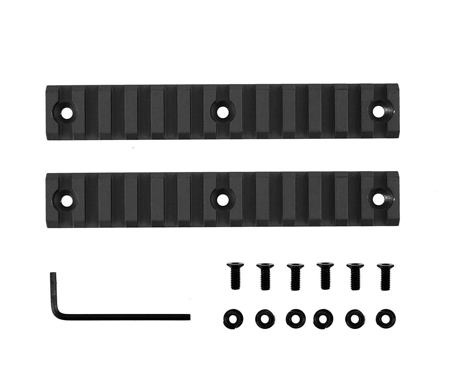 LVLING 13 Slot/5.25 Inches Mid Length Picatinny/Weaver Rail Rail for Keymod Systems (2 Pieces Matte black)