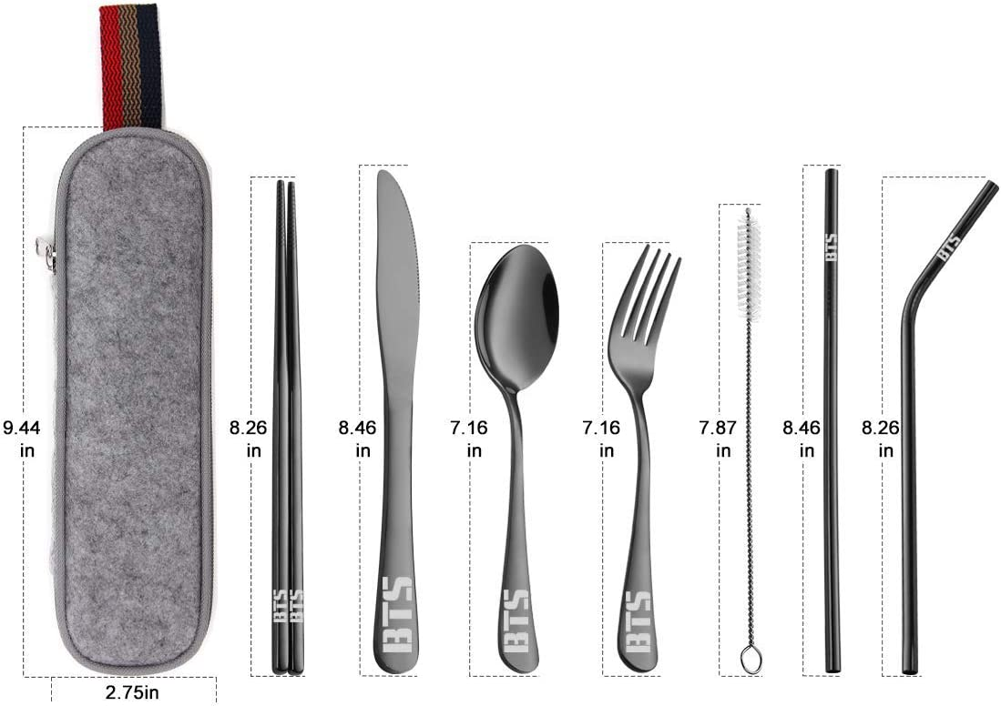 Black Kpop BTS Bangtan Boys Travel Camping Cutlery Set Cleaning Brush 8 Piece Straight Straw Portable Lunch Utensils Set with Case and Straw Chopsticks Fork Knife Spoon
