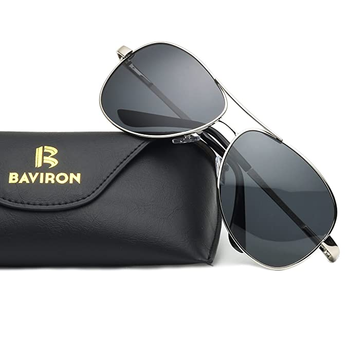 75a3508d87 BAVIRON Aviator Sunglasses for Men Women Polarized Mens Sunglasses Classic( Black Grey)