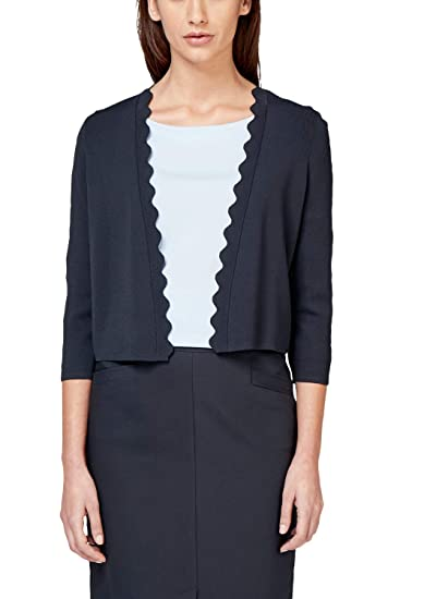 s.Oliver BLACK LABEL Damen Cardigan mit Bogenkante Dark Navy