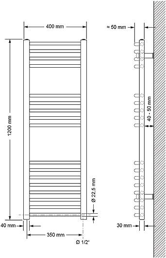 Heizk/örper Handtuchw/ärmer Handtuchtrockner gebogen mit Seitenanschluss 500 x 1500 mm Wei/ß ECD Germany Badheizk/örper Elektrisch mit Heizstab 900W