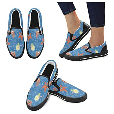 Custom Wildlife Ocean Animals Sneaker Women Unusual Slip On Canvas Shoes  Blue b76117e37