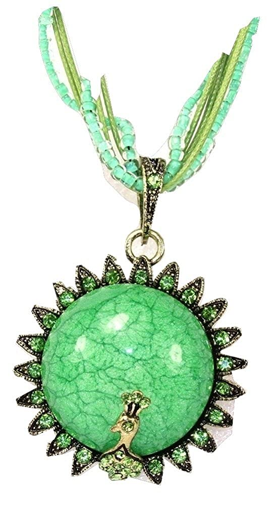 AMR Collection Bohemian Style Green Flower Peacock Pendant Fashion Necklace with Rhinestones