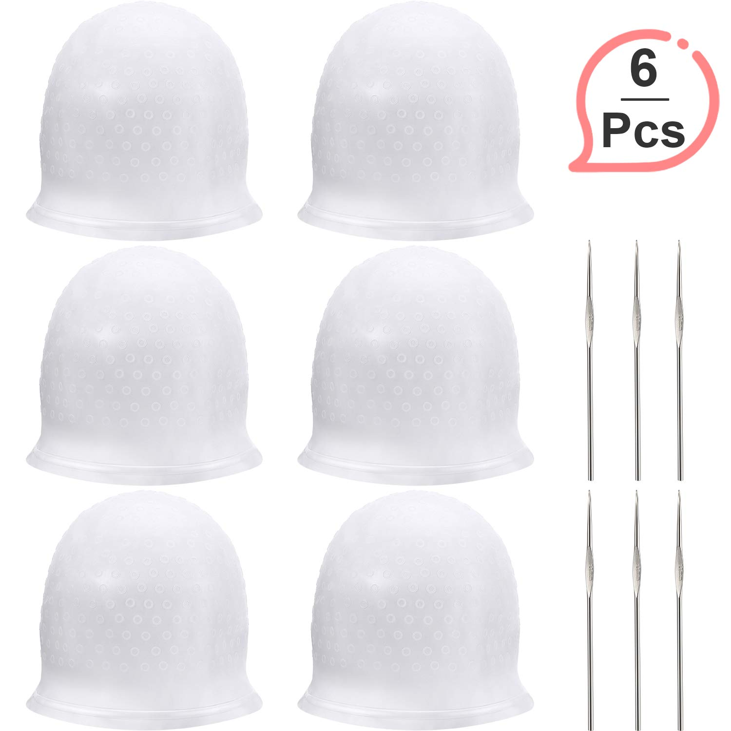 Silicone Highlight Cap Reusable Highlight Hair Cap Salon Hair Coloring Dye Cap with Hooks for Women Girls Dyeing Hair (6 Sets) by WILLBOND