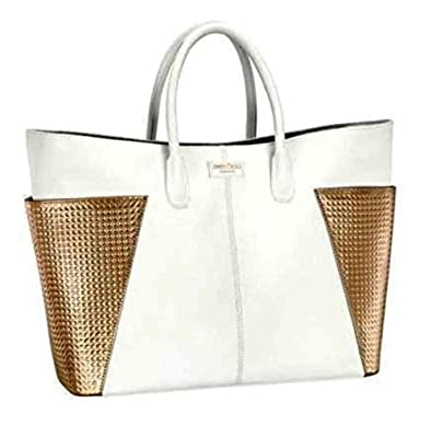 3252e999ed5 JIMMY CHOO STUNNING WHITE   GOLD DESIGNER LADIES TOTE SHOPPER HAND BAG   Amazon.co.uk  Shoes   Bags
