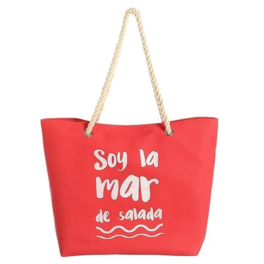 LOLAhome Bolsa de Playa roja Moderna de Tela: Amazon.es: Hogar