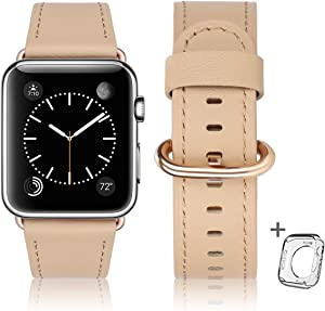 Compatible with Apple Watch Band 38mm 40mm 42mm 44mm,Women Men Genuine Leather Replacement Strap for iWatch Series SE 6 5 4 3 2 1(Beige + Gold Adapter, 38mm 40mm)