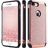 iPhone 7 Plus Case, BENTOBEN Glitter Bling Sparkly Hybrid Slim Hard Cover Laminated with Luxury Shiny Faux Leather Shockproof Soft Bumper Protective Case for iPhone 7 Plus (5.5 inch), Rose Gold (Wireless Phone Accessory)