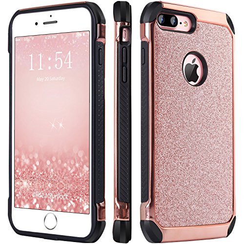 iPhone 7 Plus Case, BENTOBEN Glitter Bling Sparkly Hybrid Slim Hard Cover Laminated with Luxury Shiny Faux Leather Shockproof Soft Bumper Protective Case for iPhone 7 Plus (5.5 inch), Rose Gold (Christmas Hard Case)