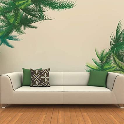 Uutag Green Leaves Palm Tree Wall Decals Peel And Stick Removable Wall Stickers Home Art Decor Mural Wallpaper For Home Office Living Room Bedroom