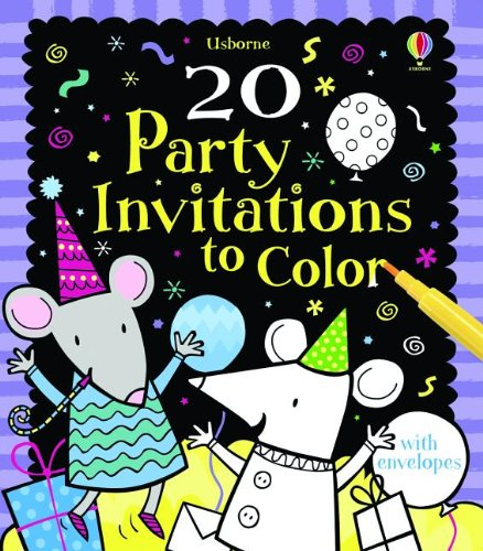 20 Party Invitations to Color (Greeting Cards)
