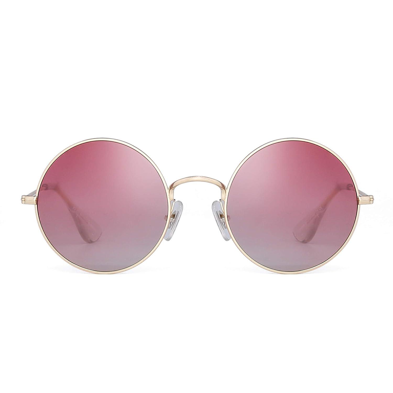 Occhiali da Sole Rotondi Polarizzati Retrò Occhiali Metallo Dorato con Lenti Gradiente Donna LD1008 C1