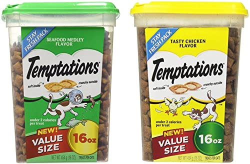Value Size Temptations Treats for Cats Bundle Seafood Medley Flavor 16 oz and Tasty Chicken Flavor 16 oz