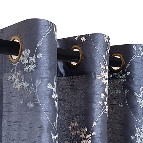 Faux Silk Floral Embroidered Curtains for Bedroom Embroidery Curtain for Living Room 63 inches Long Drapes, 2 Panels, Slate Blue