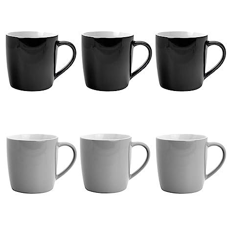 Argon Tableware Tea Coffee Ceramic Contemporary Coloured Mugs 340ml Black Grey Set Of 6
