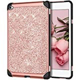 BENTOBEN Case for iPad Mini 4, Glitter Bling Sparkly Protective Cases, Super Slim Lightweight Shiny Cover, 2 in 1 Heavy Duty Hard PC Cover Soft TPU Shockproof Case for Women, Girls, Rose Gold