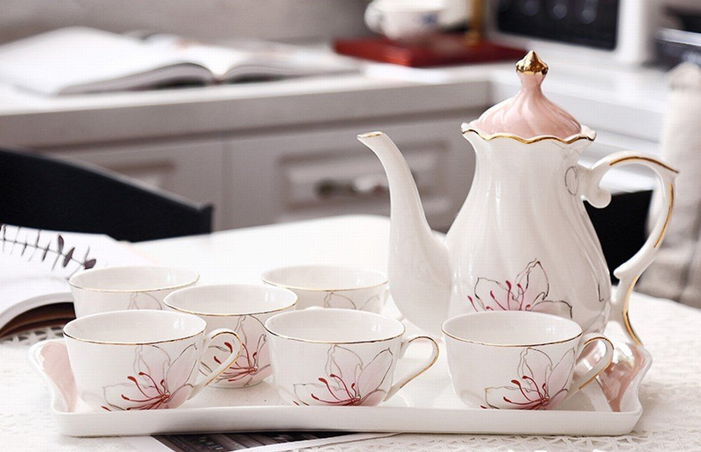 DHG European-Style Afternoon Tea Tea Set Home Coffee Cup Ceramic Teapot Set Flower Cup Wedding Tea Gift,A by DHG