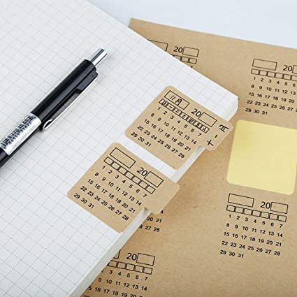 2021 Calendar stickers with tabs planner stickers kraft paper