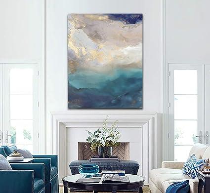 Amazon.com: 100% Handmade Wall Art Texture Water Color ...