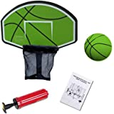 Exacme Trampoline Basketball Hoop with Ball and Attachment for Straight Net Poles, Green or Orange 6180-BH04
