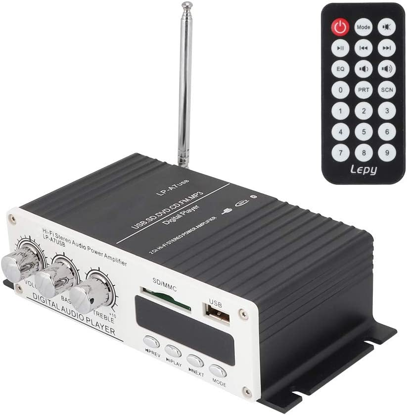 Garsent Mini Amplificador de Audio estéreo, 15 W x 2 Altavoz de Audio Digital Bluetooth Amplificador de Potencia con Radio FM/AUX/USB/Entrada Bluetooth estéreo Hi-Fi Digital Amp para el Coche en casa